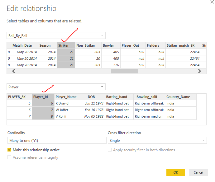DataMOdeling Manage Edit relationships